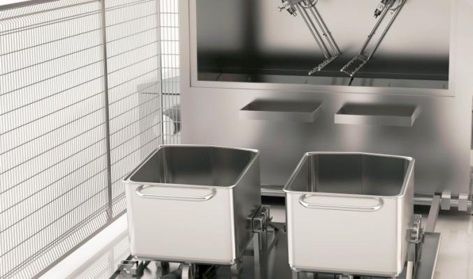 Индустриална машина за миене на 2x200l колички & 900l контейнер